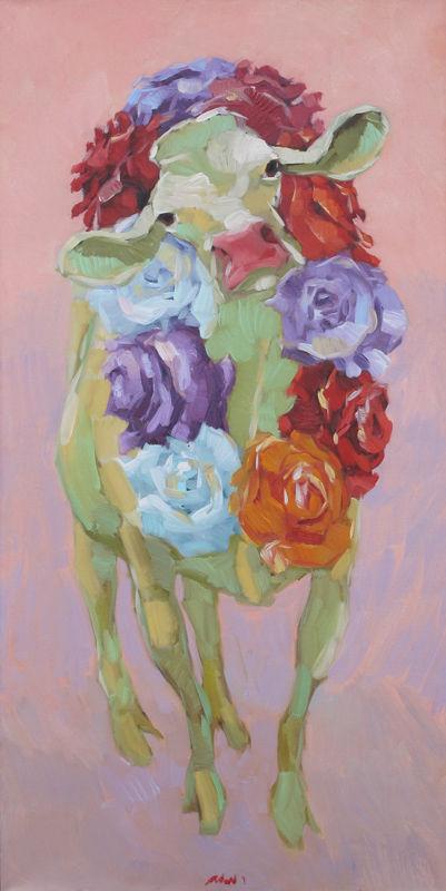 Koe met rozenkrans