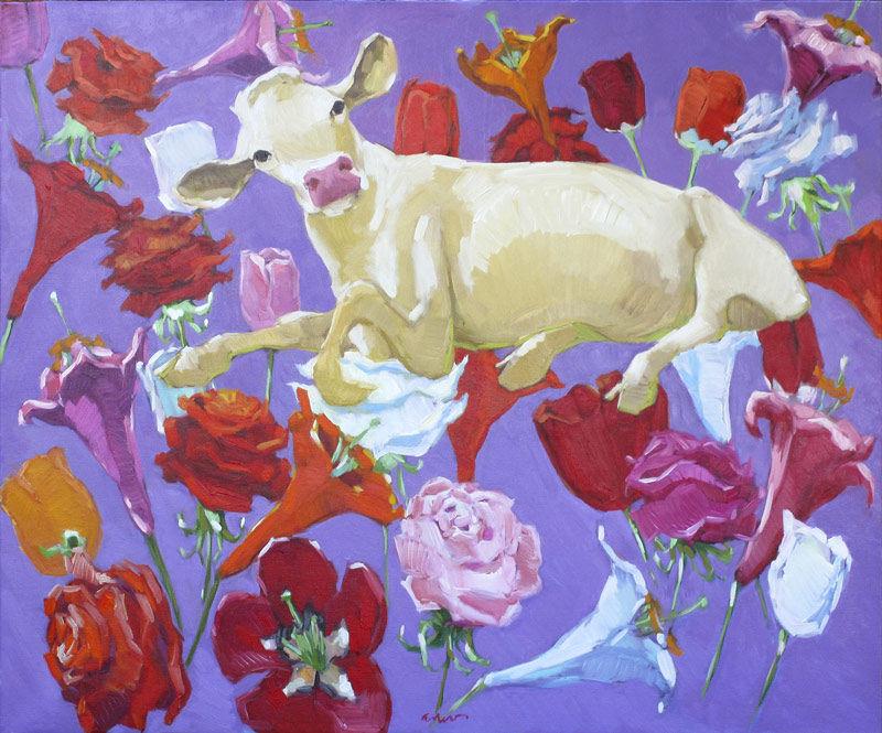 Koe met zwevende bloemen