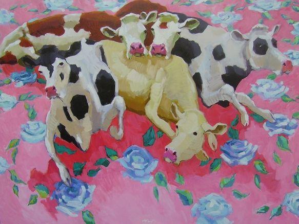 Koeien op rozenmotief