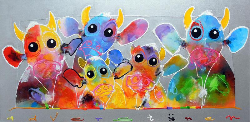 Vijf zonnige koeien
